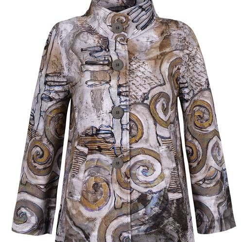 Printed Swing Coat in Swirl Print
