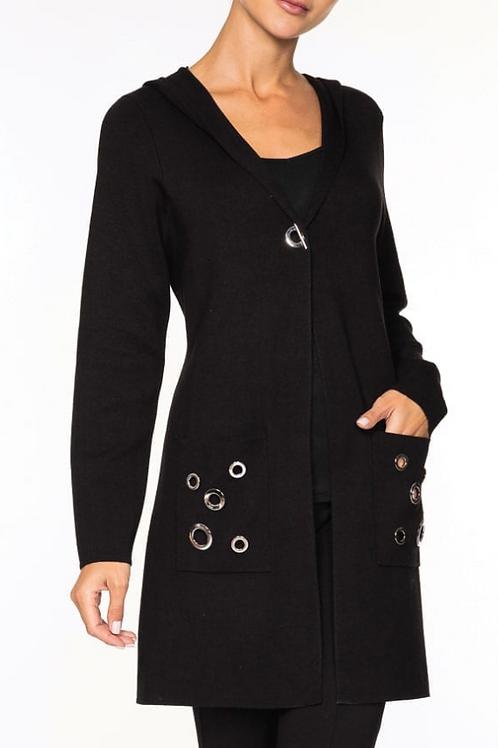 Alison Sheri Black Jacket with Grommet Detail and Hood