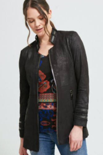 Faux Suede Jacket with Zipper Detail from Joseph Ribkoff