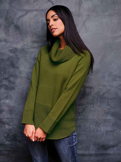 Cowl Neck Sweater available in Charteuse &  Abergine