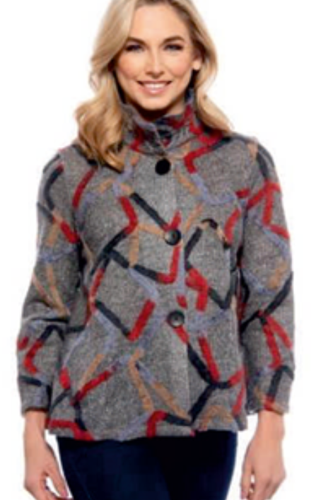 A Great Jacket Detailed with Swirls of Yarn in Multiple Colors