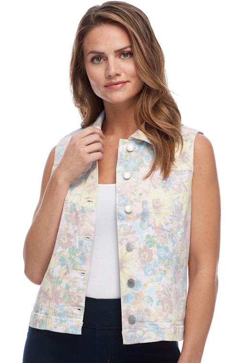 Floral Pastel Jean Vest by FDJ.