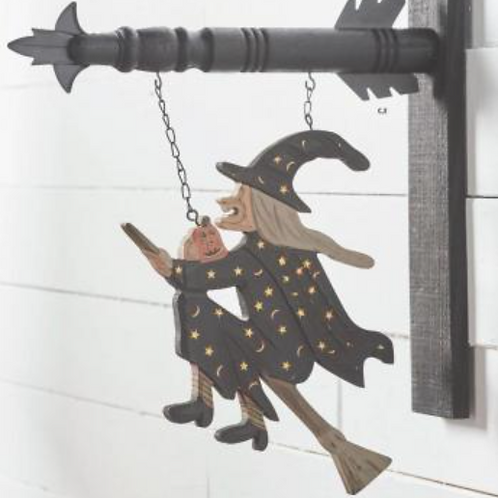 Witch on Broomstick w/Stars