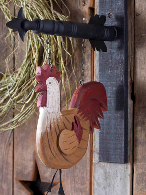 Red & Brown Wood Rooster