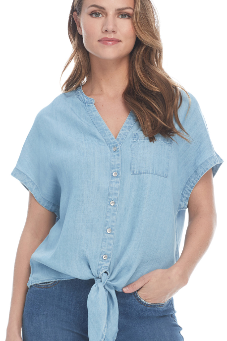 Chambray Tencel Tie Front Blouse