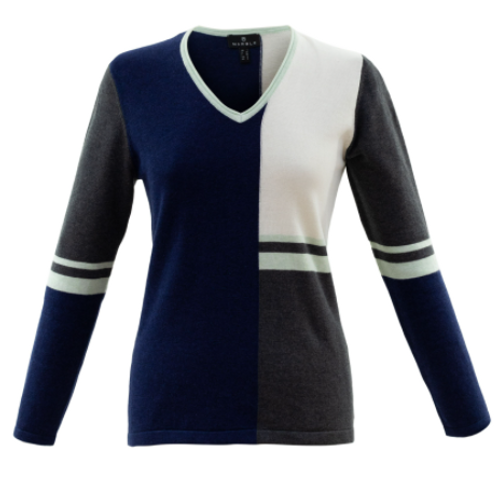 Marble V-neck Pullover Sweater