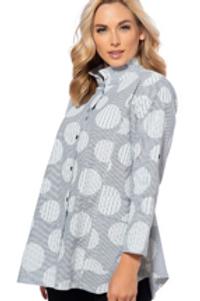 Long Swing Jacket in Grey Print