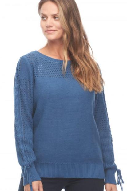 Denim Blue Fancy Sleeve Sweater