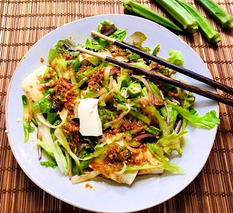 Japanese Tofu Okra Salad - A simple yet elegant Japanese okra salad, made with red onion, cucumber, and garnished with soy sauce and tasted sesame oil. This easy Japanese style okra salad is absolutely delish !