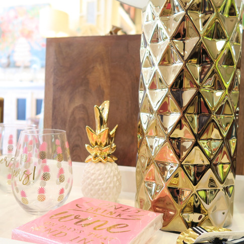 Stylish, Happy Party Items in Gold and Pink