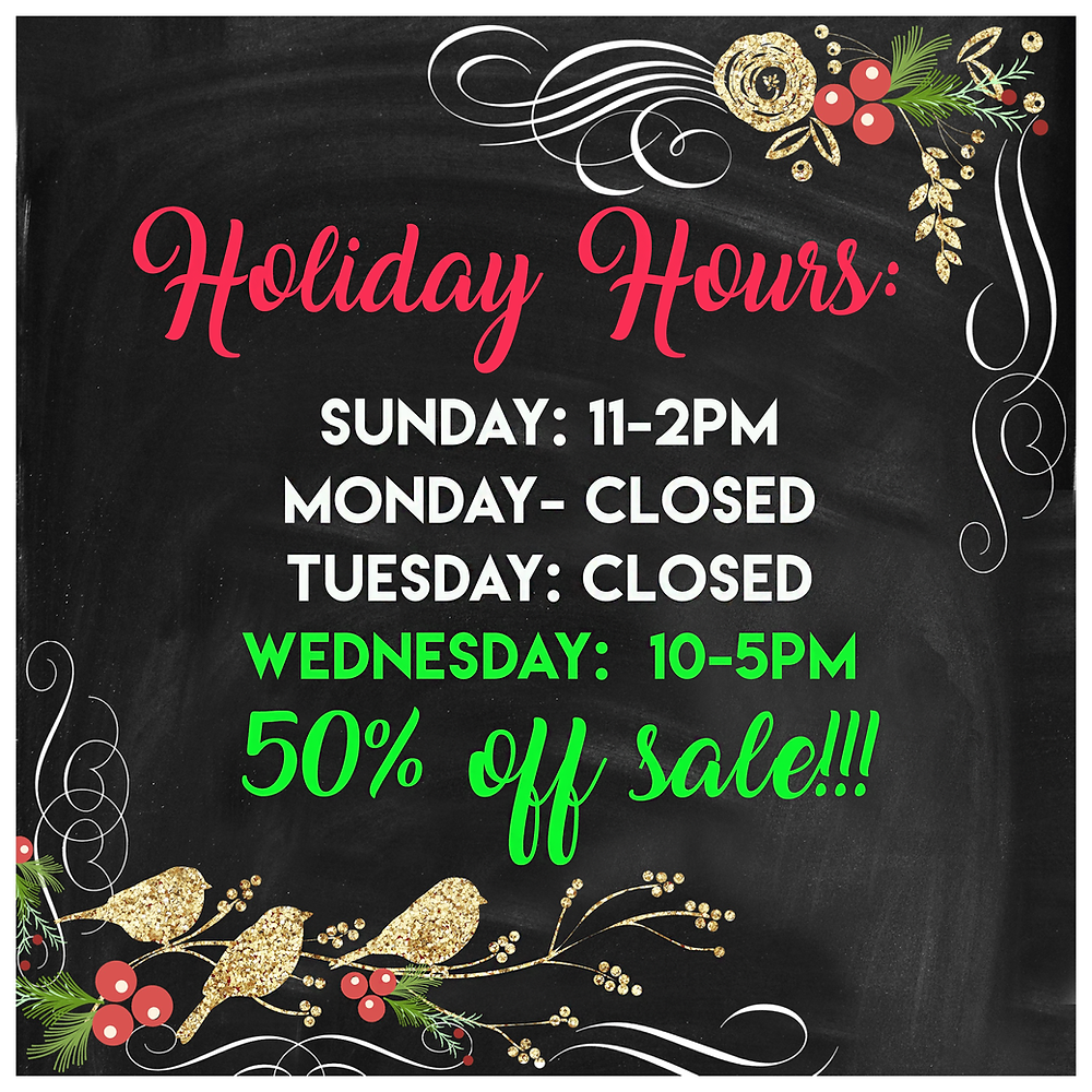 tinker's holiday hours on Christmas Eve and Massive sale on 12/27/17