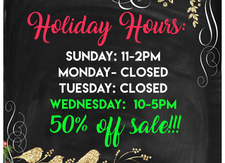 CHRISTMAS EVE AND 50% OFF SALES!