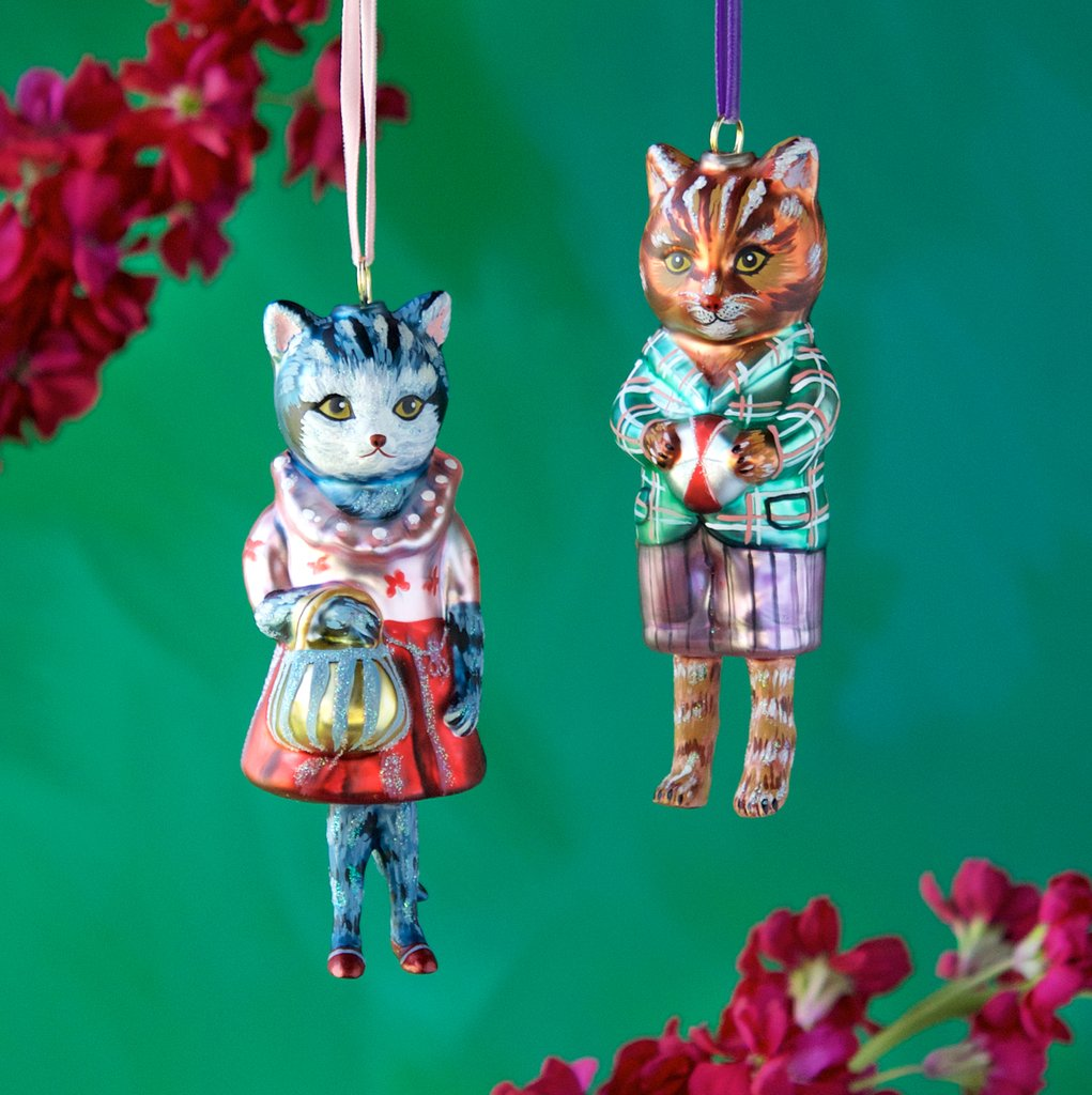 Cute cat ornaments by Nathalie Lete
