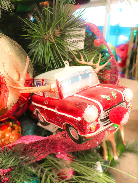 Candy apple red antique car ornament