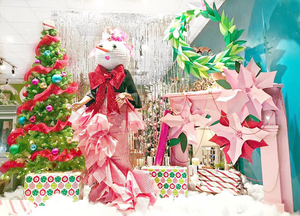 Holiday store display window designed by Susan Sutphin