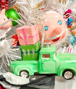 Lime  green  antique pickup truck ornament