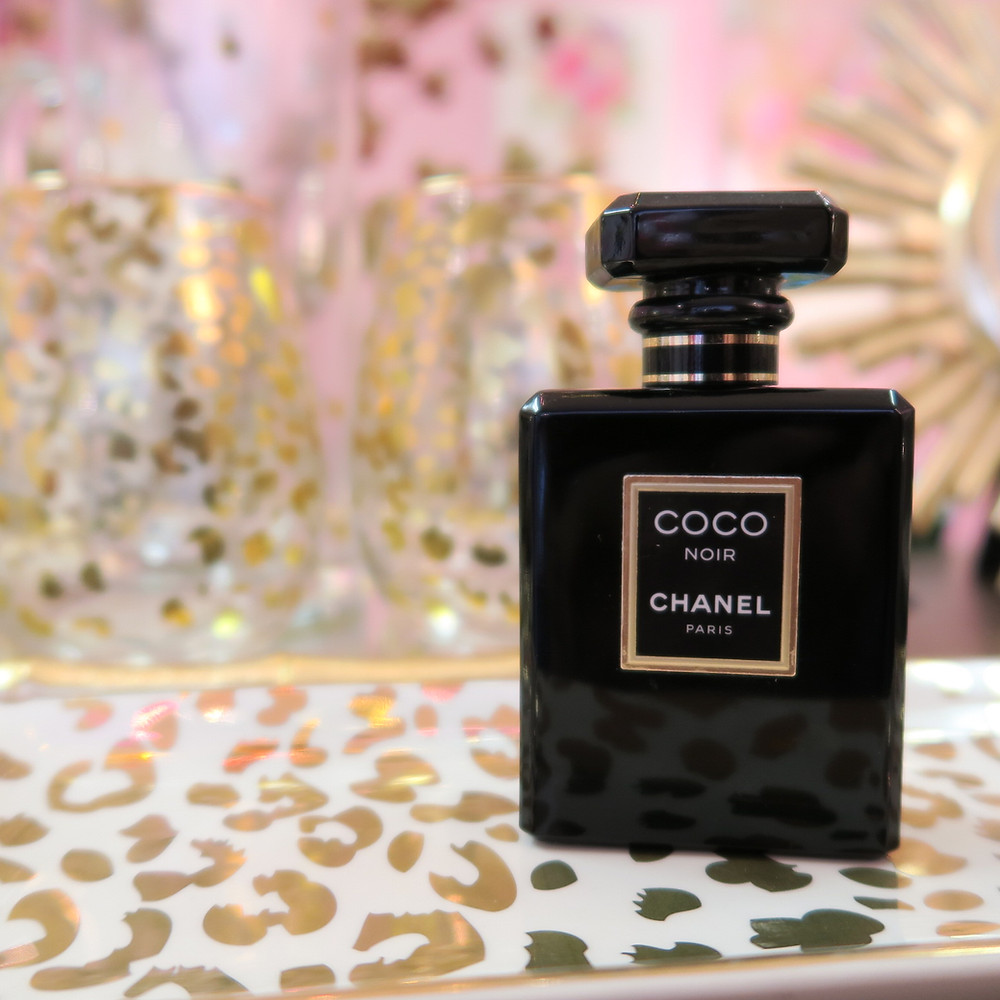 Gold cheetah print cocktail glasses and Coco Chanel Glam