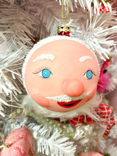 St. Nick face ornaments.