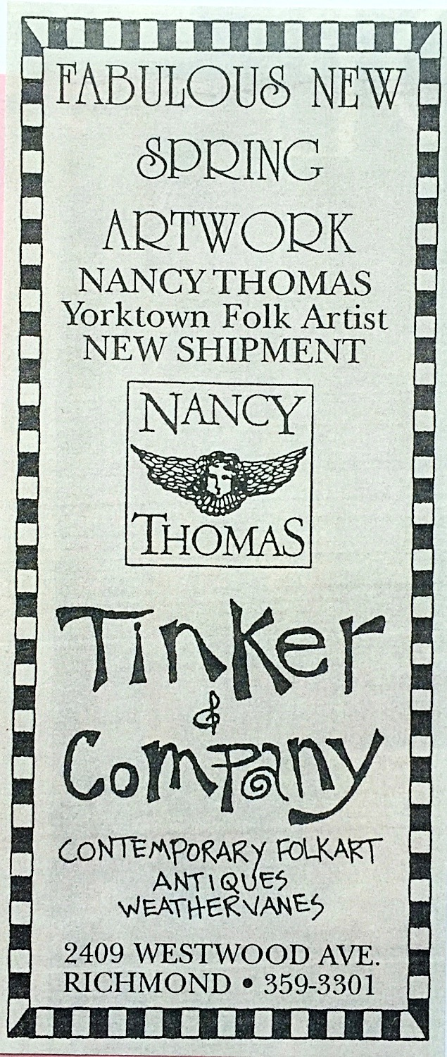 Old ads for Tinker's w/ Nancy Thomas