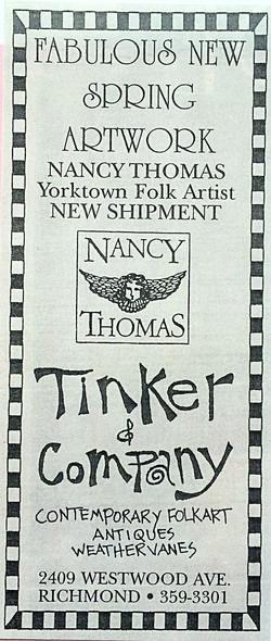 Old ads for Tinker's w/ Nancy Thomas