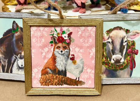Fox  and rooster paintings under $25