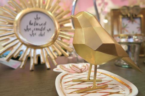 Gold Birds, frames and trinket plates