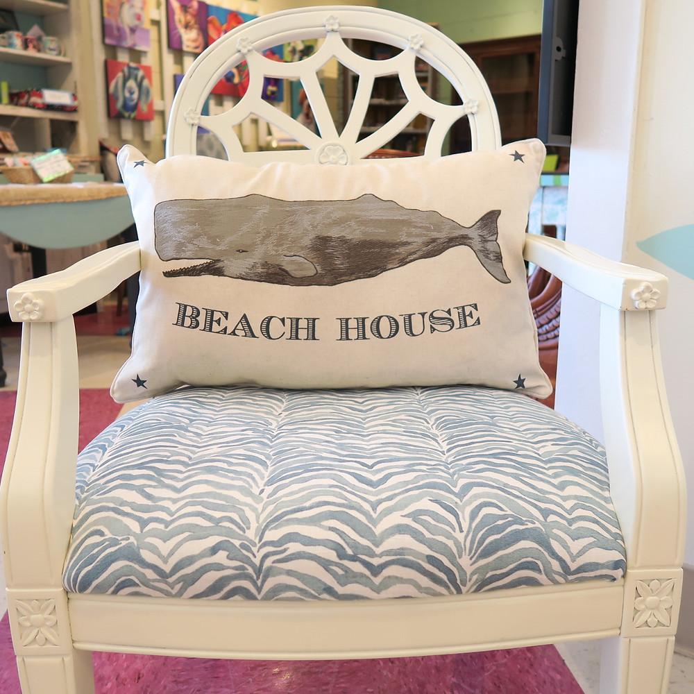 Whale pillows and beach prints