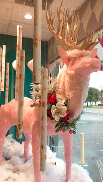 Pink deer window display made from scratch by Susan Sutphin