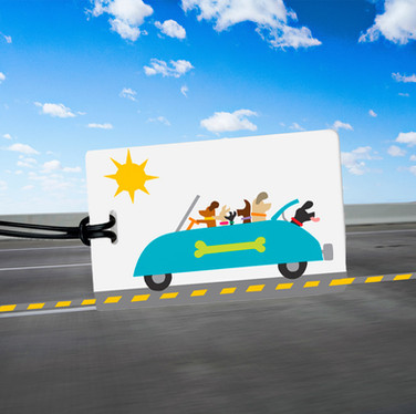 Dogs in cars travel tags!