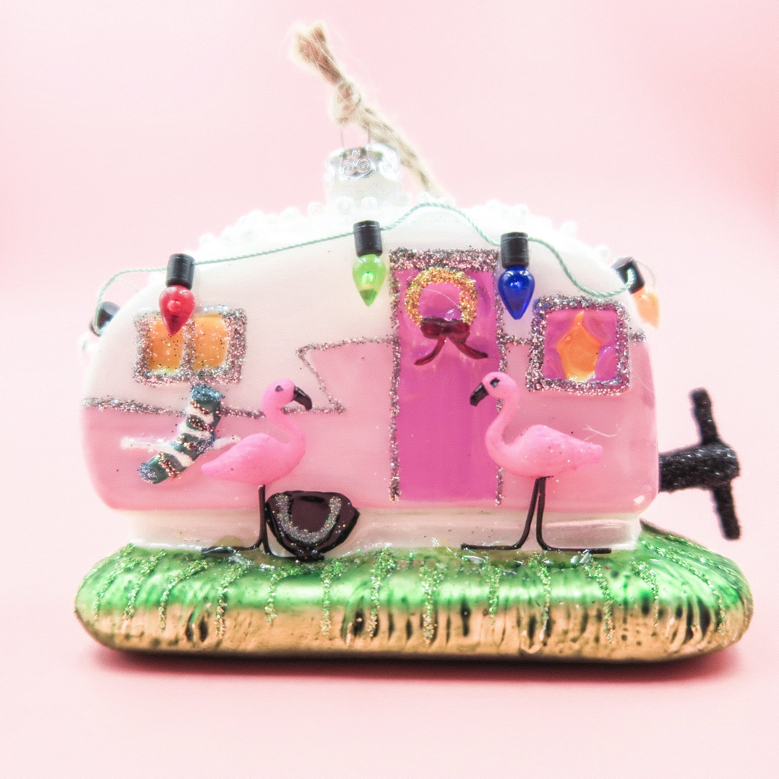 Pink trailer park ornament
