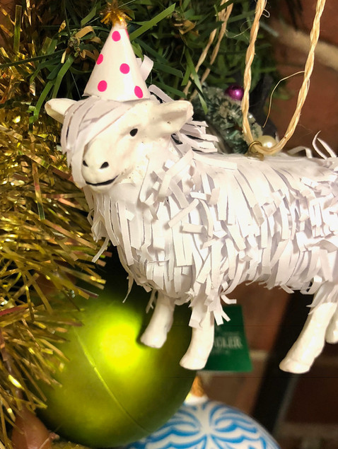 hipster sheep with a polka dot hat ornament