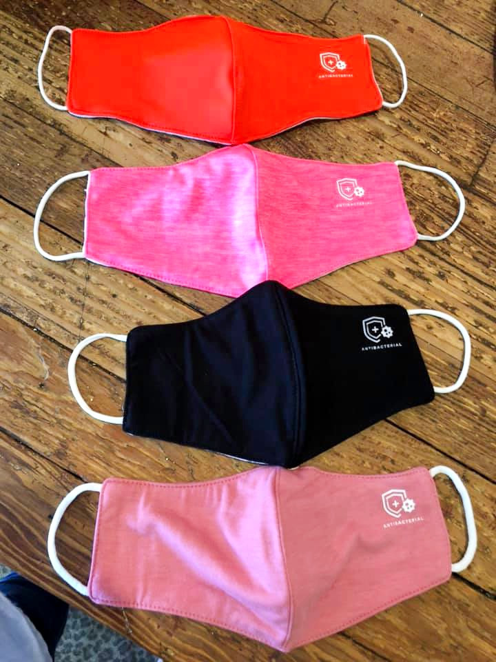 Red, pink, black and light pink antibacterial facemasks