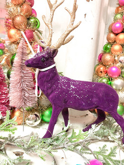 Purple velvet deer christmas decor