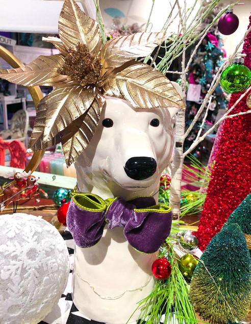 Polar bear with a purple bowtie ornament