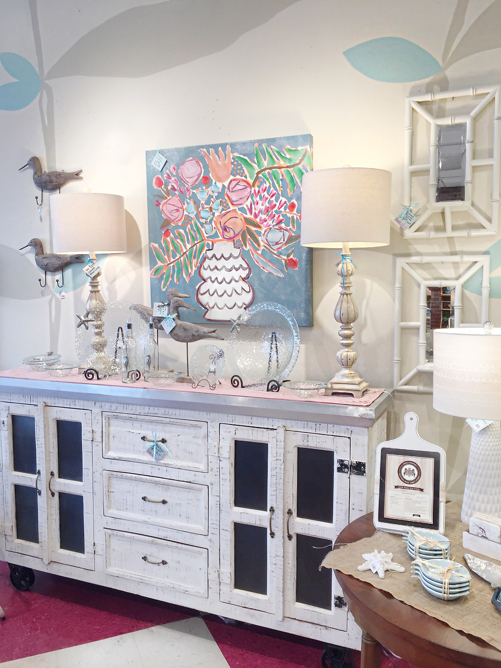 White, industrial furniture, beach home decor, lamps and more.