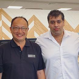 Mayor Meng Foon with Air Napier chief executive Shah Aslam