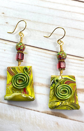 Joy Polymer Lime Chic Earrings