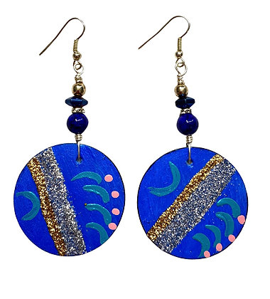 Blue Passion Glitter Slip On Wooden Earrings