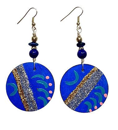 Blue Passion Glitter Slip On Wooden Earrings