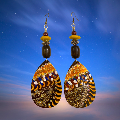 Link To Link Brown Wood Painted Fashion Style Earrings