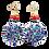 Thumbnail: Charcoal Gray Blue Shimmer  Dangle Wood Earrings