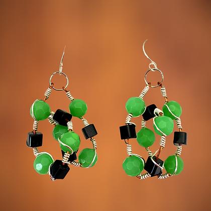 Speedy Green Wire Entangled Earrings