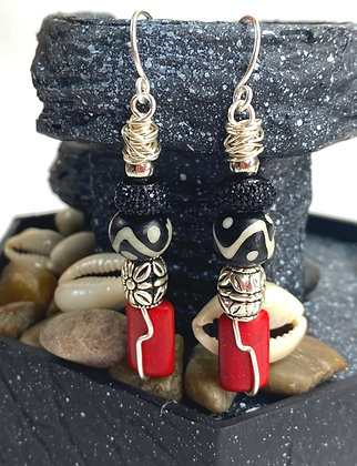 African Beaded Red Lady Earrings