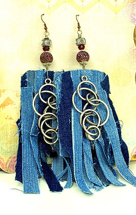 Loopty Loopty Shredded Denim Earrings
