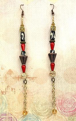 Cranberry Chain Drop Earrings
