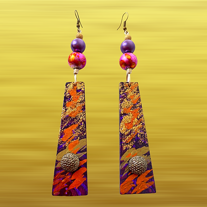 Charming  Purple  Pink Passion Dangle Style Wood Earrings