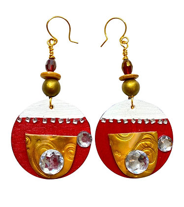 Castle Gold And Red Wood Dangle Earrings