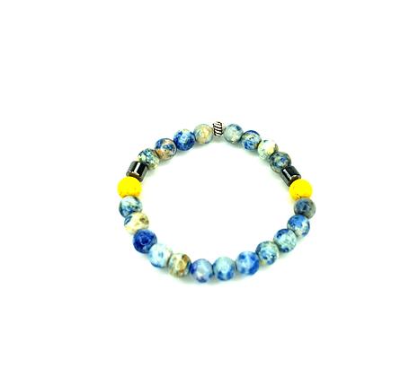 Spice you blue and lemon boho slip on  style bracelet