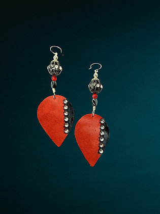 Cherry N Black Teardrops Earrings