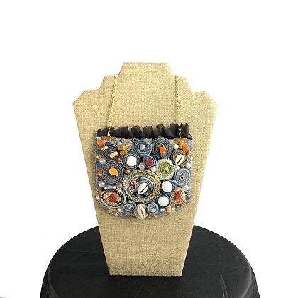 Denim jean denim coiled bead glitz abstract shabby chic necklace